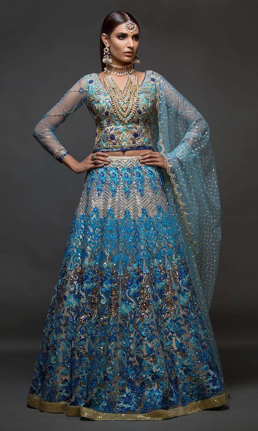 Latest Asian Bridal Crop Top Lehenga Designs | Stylo Planet