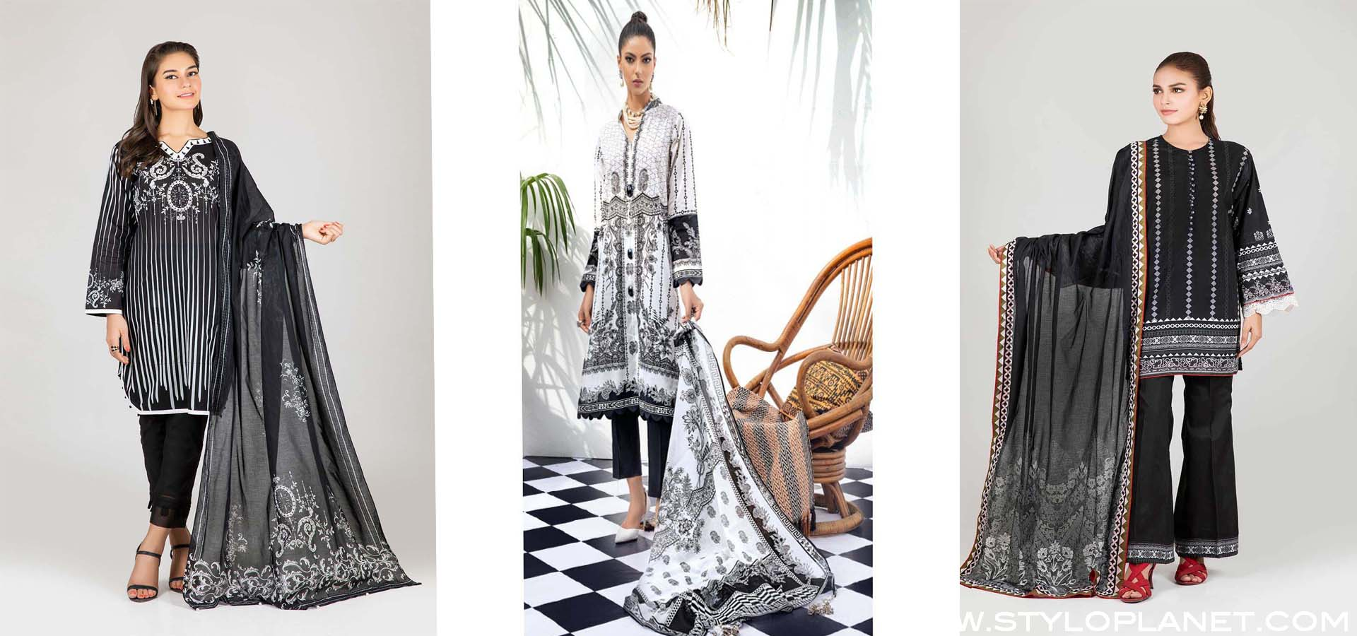 Latest Black and White Lawn Colelction by Pakistani Brands