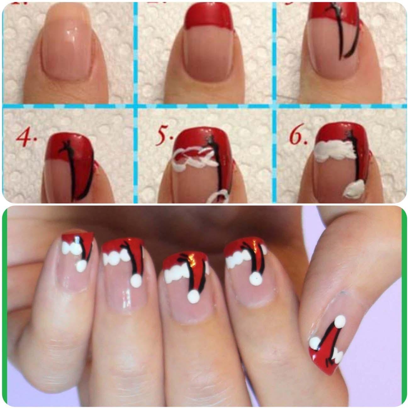 Christmas nail art for Santa's hat