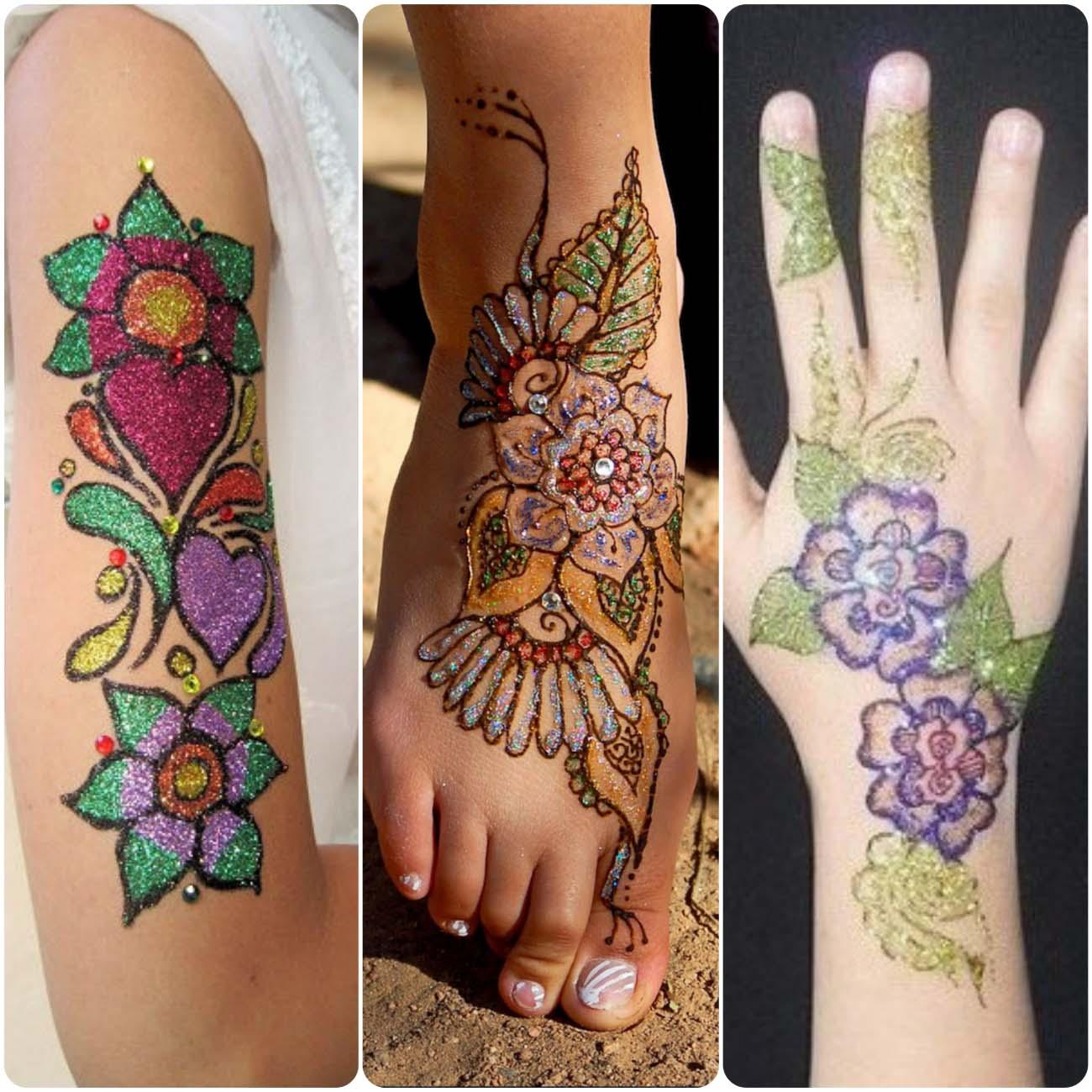 Latest Glitter Mehndi Designs For Girls 2020