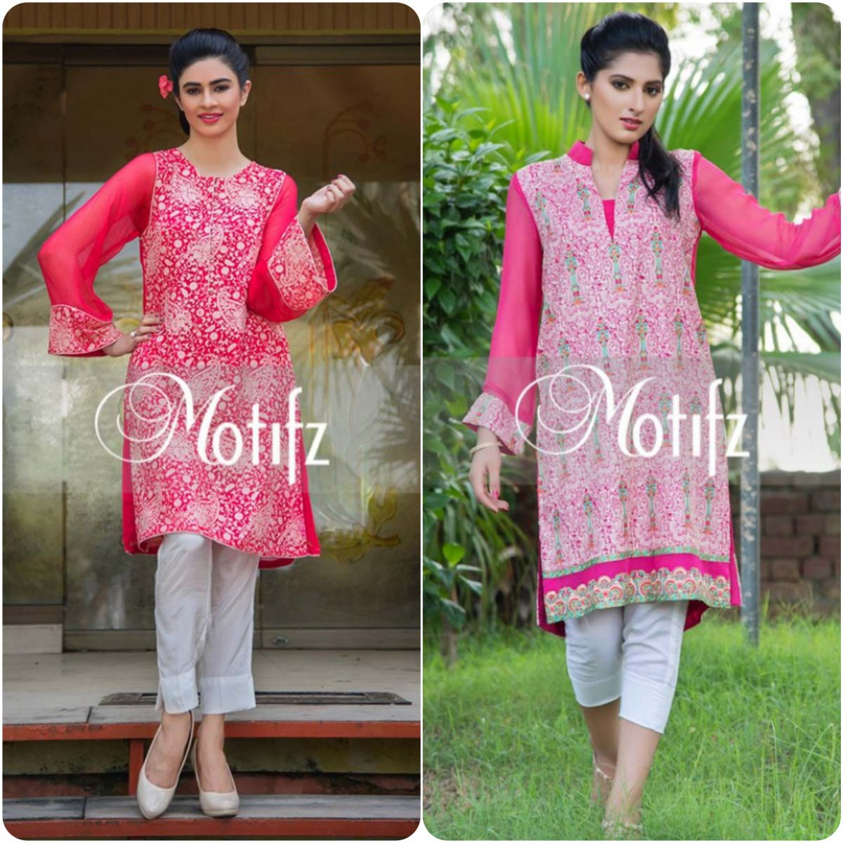 Latest Motifz Embroidered Crinkle Chiffon Collection 2016-2017
