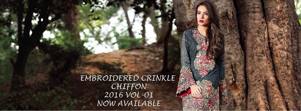 Latest Motifz Embroidered Crinkle Chiffon Collection 2016-2017...styloplanet.com