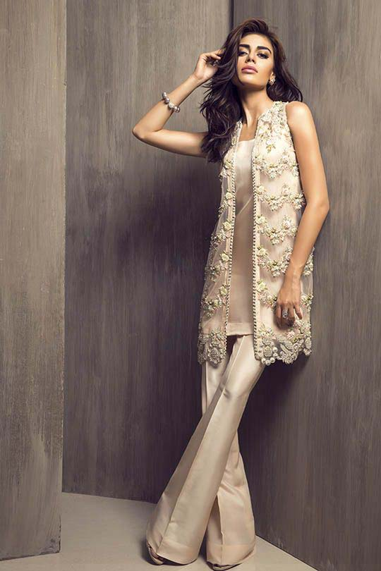 Latest Embroidered Party Wear Shirts With Trousers Designs Collection 2016-2107
