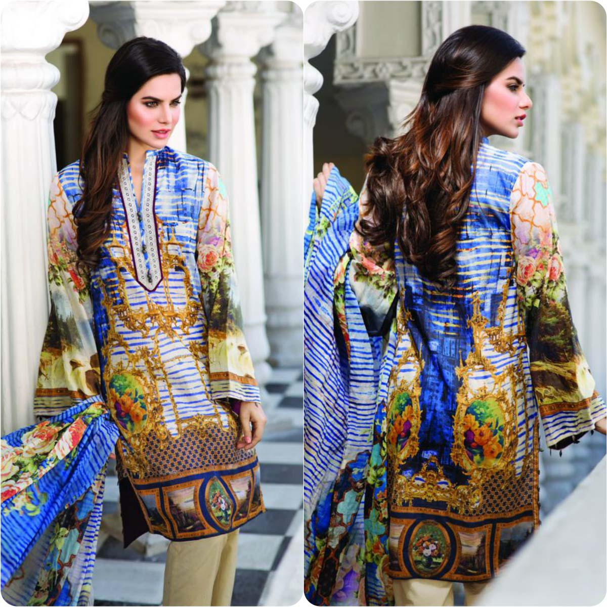 Pareesa printed and embroidered dresses collection 2016