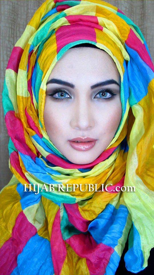 latest colorful hijab for summer