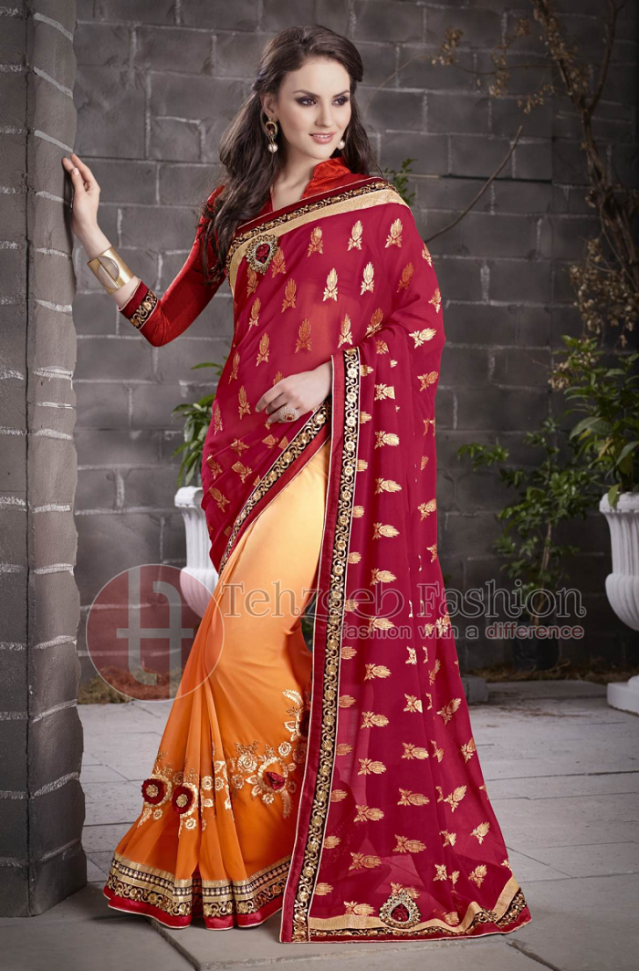 Pakistani & Indian Designers Party Wear Sarees Collection 2016-2107 (1)