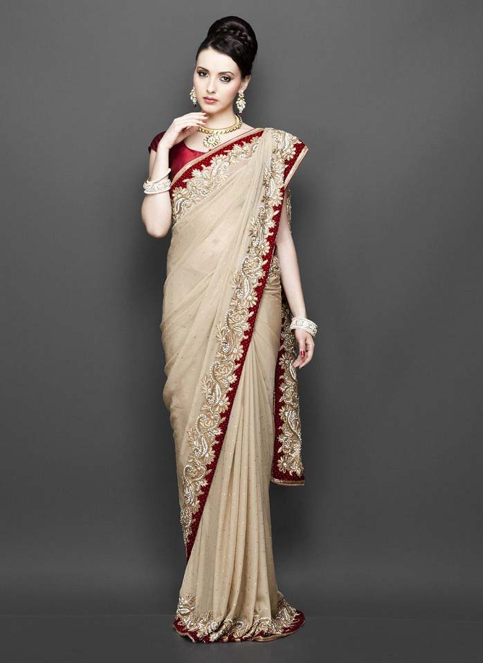 Pakistani & Indian Designers Party Wear Sarees Collection 2016-2107 (10)