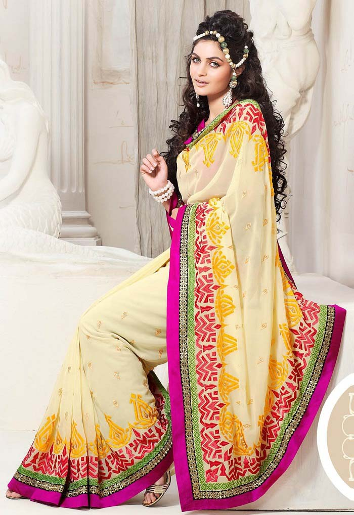 Pakistani & Indian Designers Party Wear Sarees Collection 2016-2107 (16)