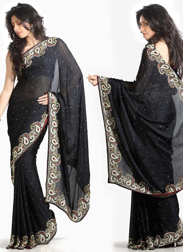 Pakistani & Indian Designers Party Wear Sarees Collection 2016-2107 (19)