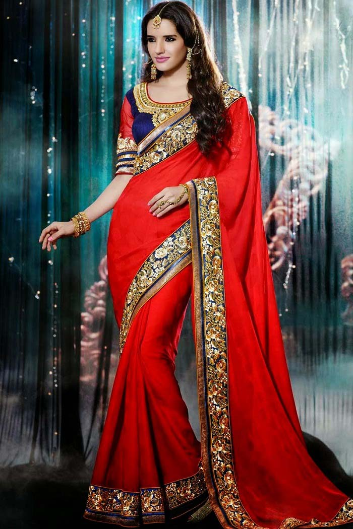 Pakistani & Indian Designers Party Wear Sarees Collection 2016-2107 (24)