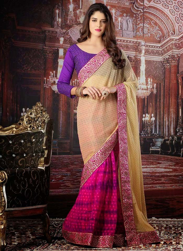 Pakistani & Indian Designers Party Wear Sarees Collection 2016-2107 (26)