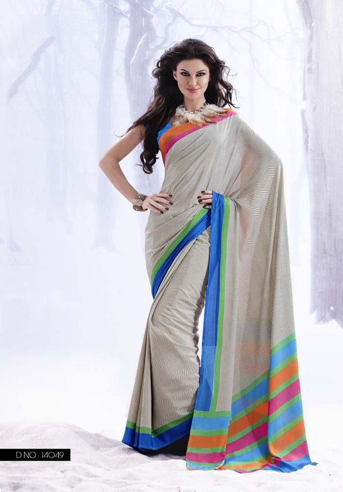 Pakistani & Indian Designers Party Wear Sarees Collection 2016-2107 (28)