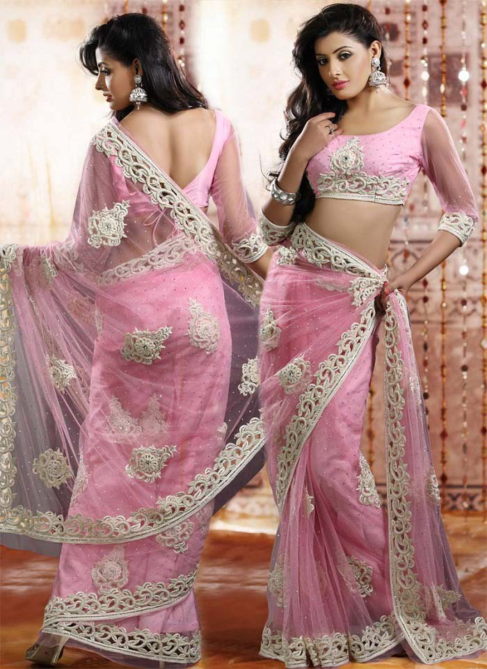 Pakistani & Indian Designers Party Wear Sarees Collection 2016-2107 (29)