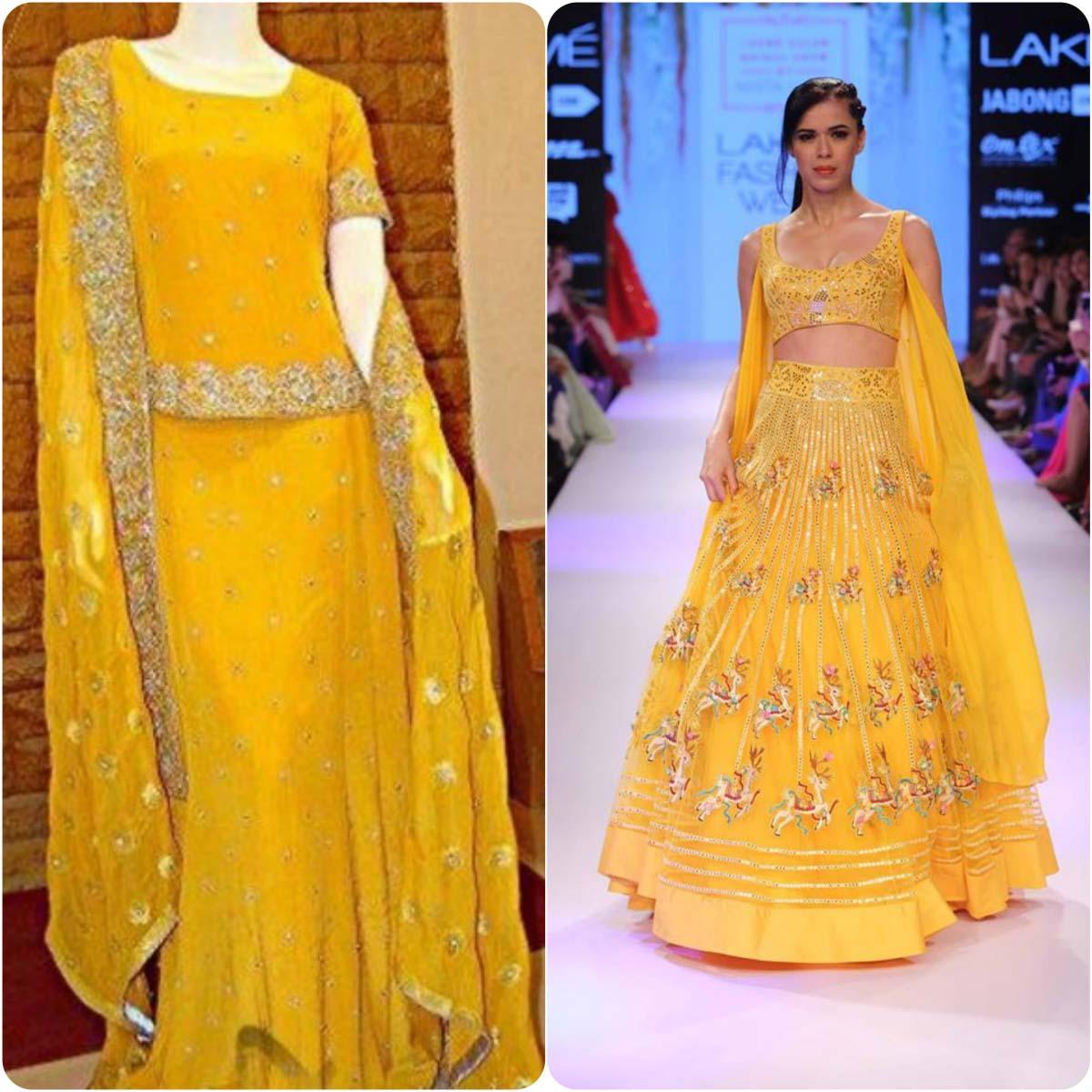 Beautiful Yellow Mehndi Dresses for Wedding Brides 2016-2017 (10)
