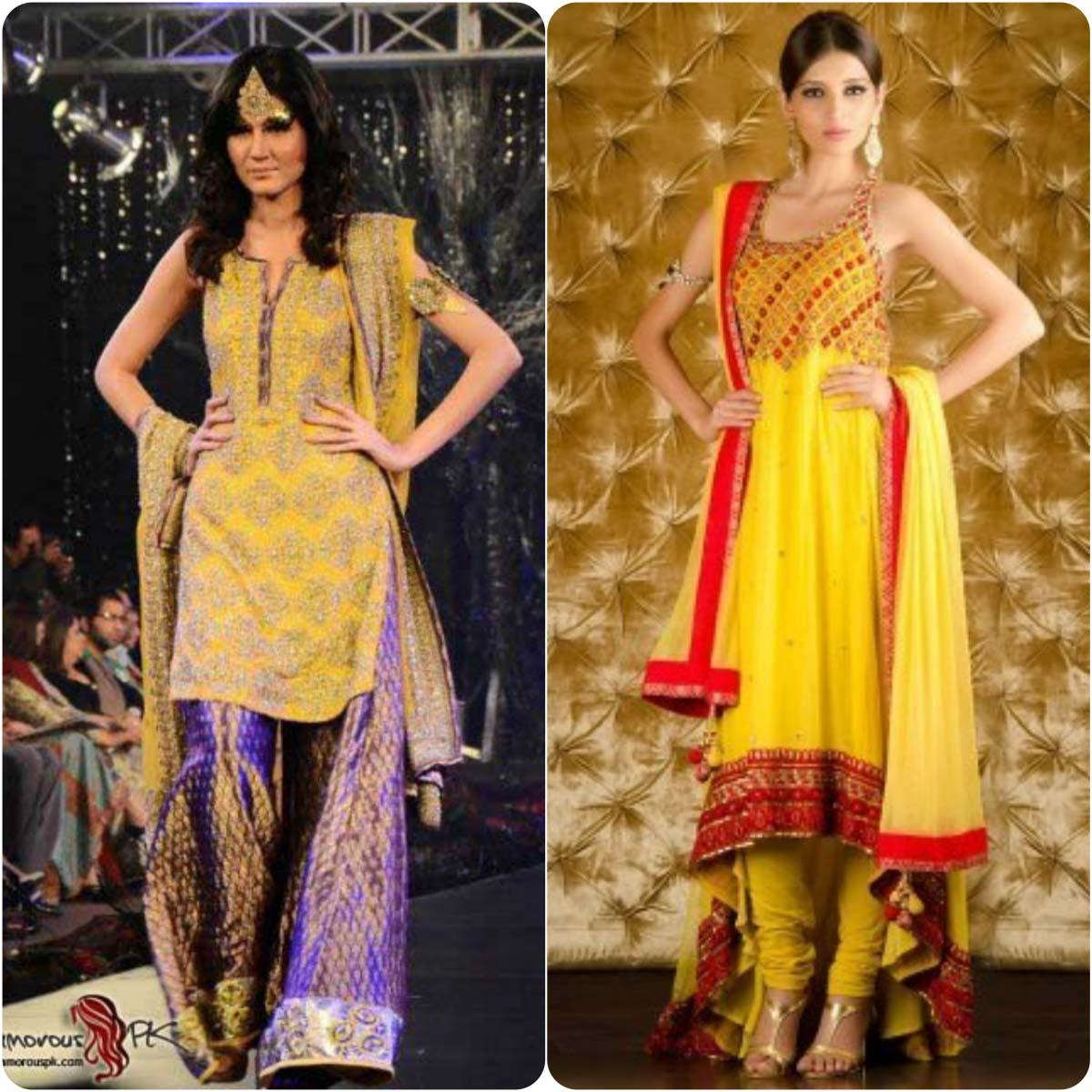 Beautiful Yellow Mehndi Dresses for Wedding Brides 2016-2017 (13)