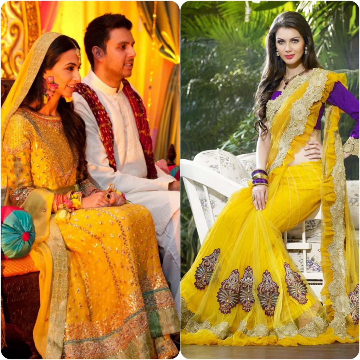 Beautiful Yellow Mehndi Dresses for Wedding Brides 2016-2017 (14)