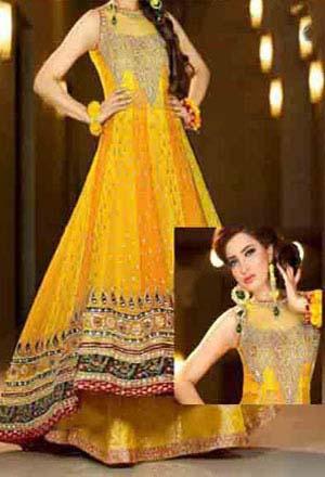 Beautiful Yellow Mehndi Dresses for Wedding Brides 2016-2017 (16)