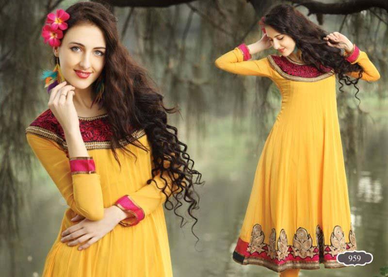 Beautiful Yellow Mehndi Dresses for Wedding Brides 2016-2017 (19)