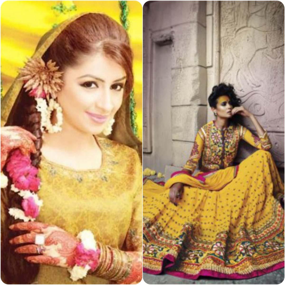 Beautiful Yellow Mehndi Dresses for Wedding Brides 2016-2017 (2)