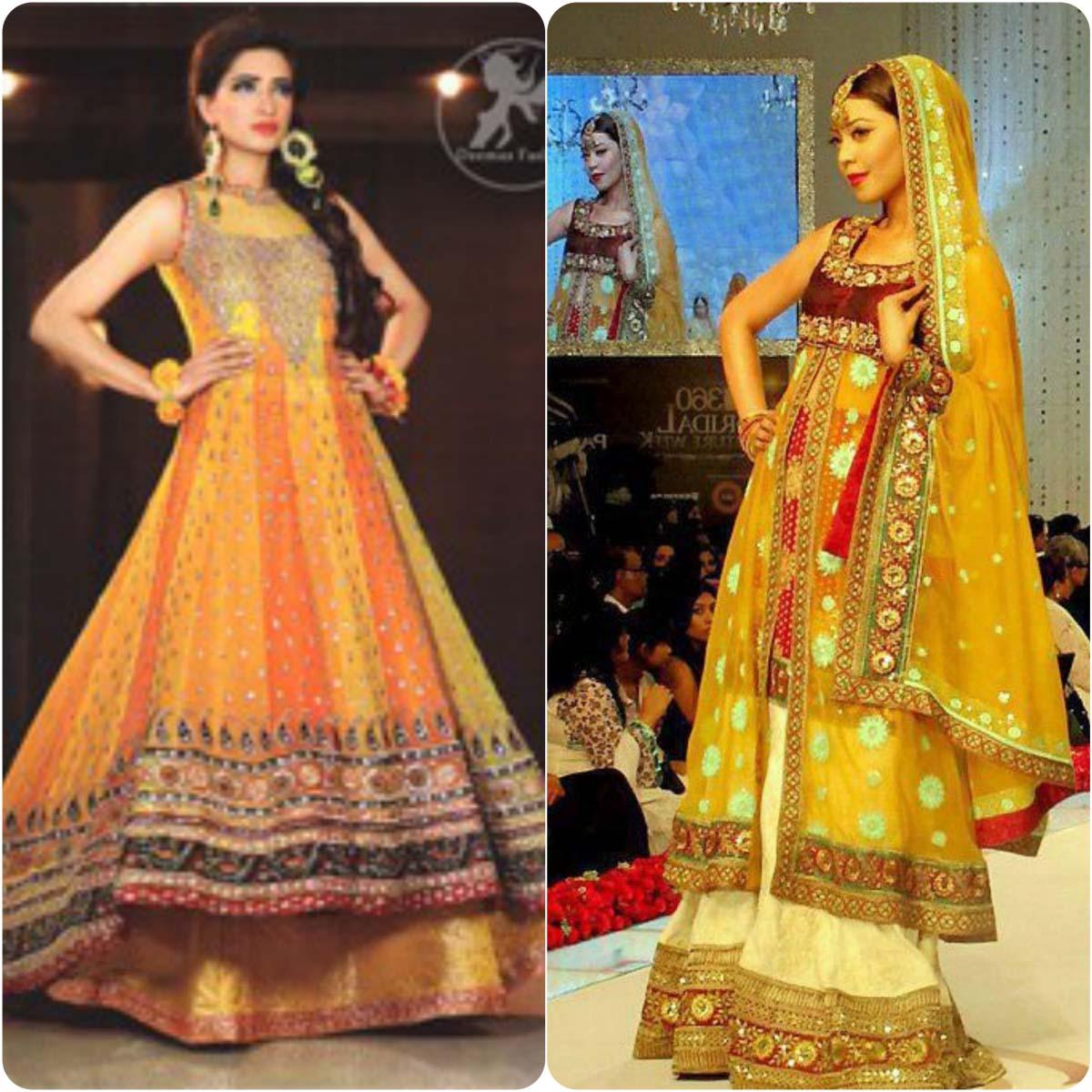 Beautiful Yellow Mehndi Dresses for Wedding Brides 2016-2017 (22)