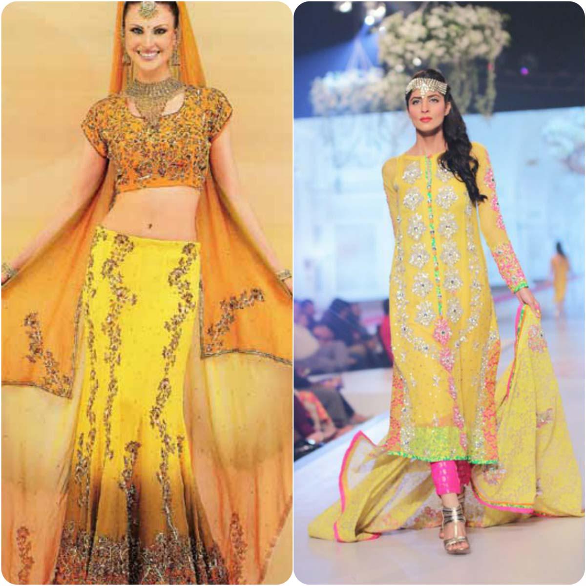 Beautiful Yellow Mehndi Dresses for Wedding Brides 2016-2017 (23)