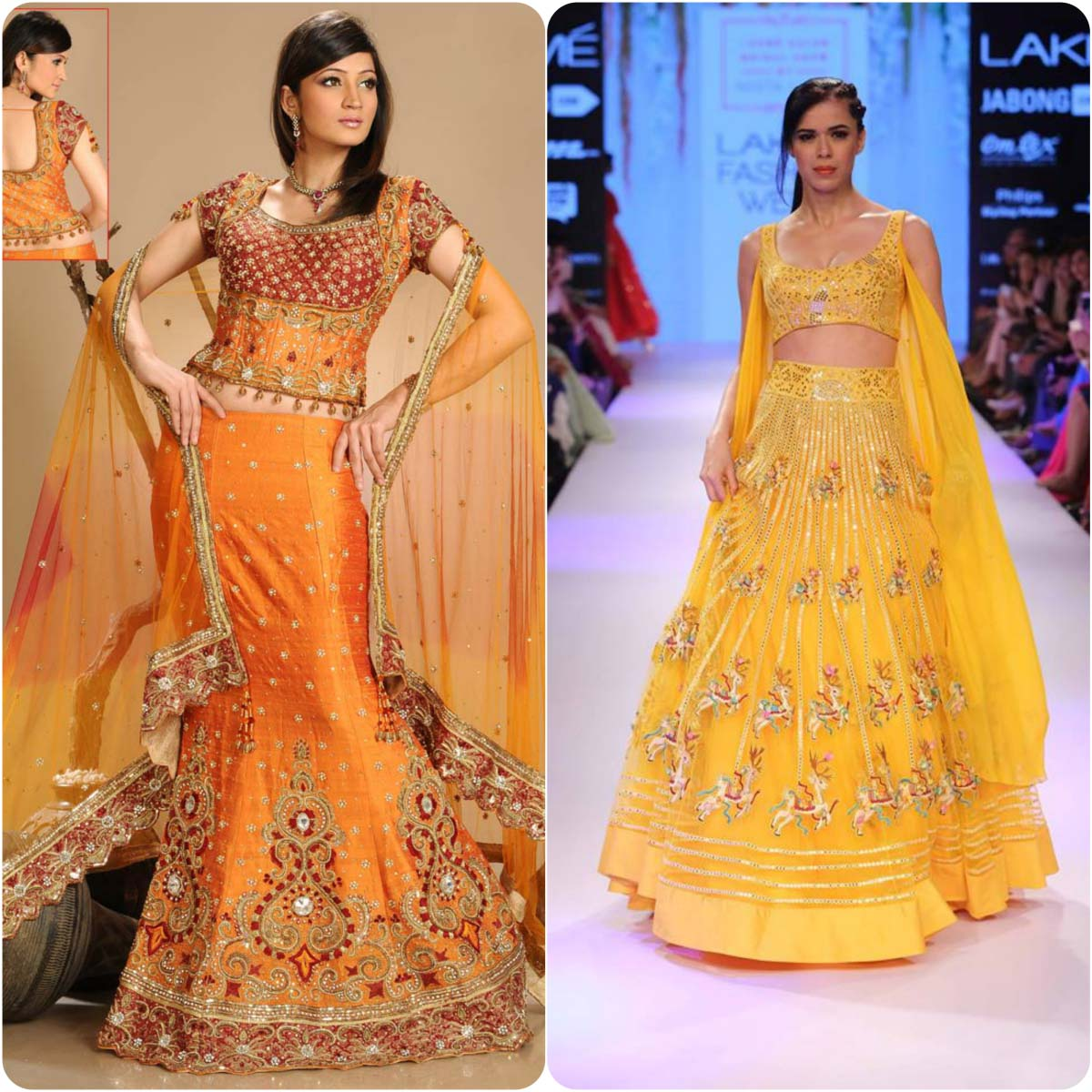 Mehndi Frocks and Sarees in yellow color