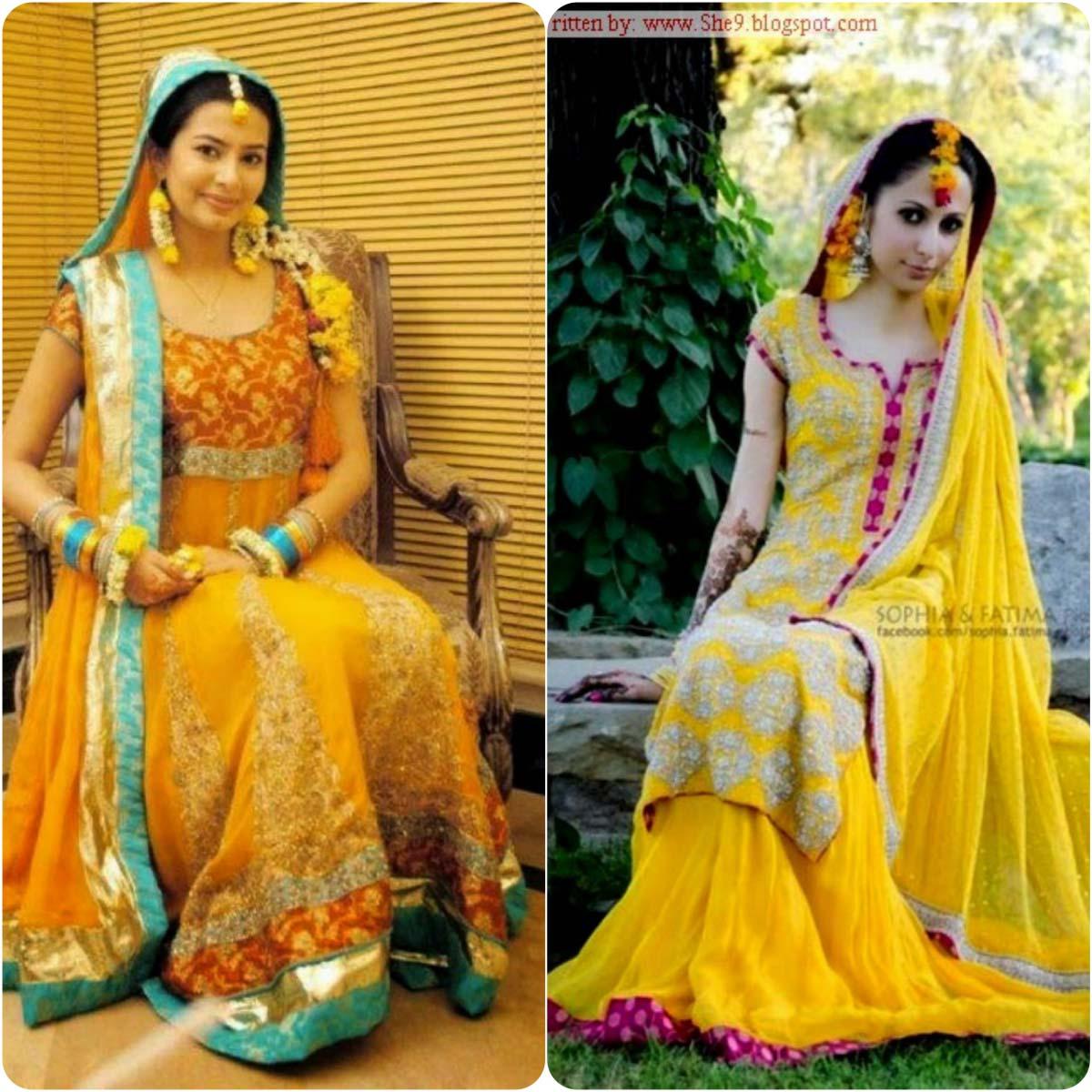 Beautiful Yellow Mehndi Dresses for Wedding Brides 2016-2017 (26)