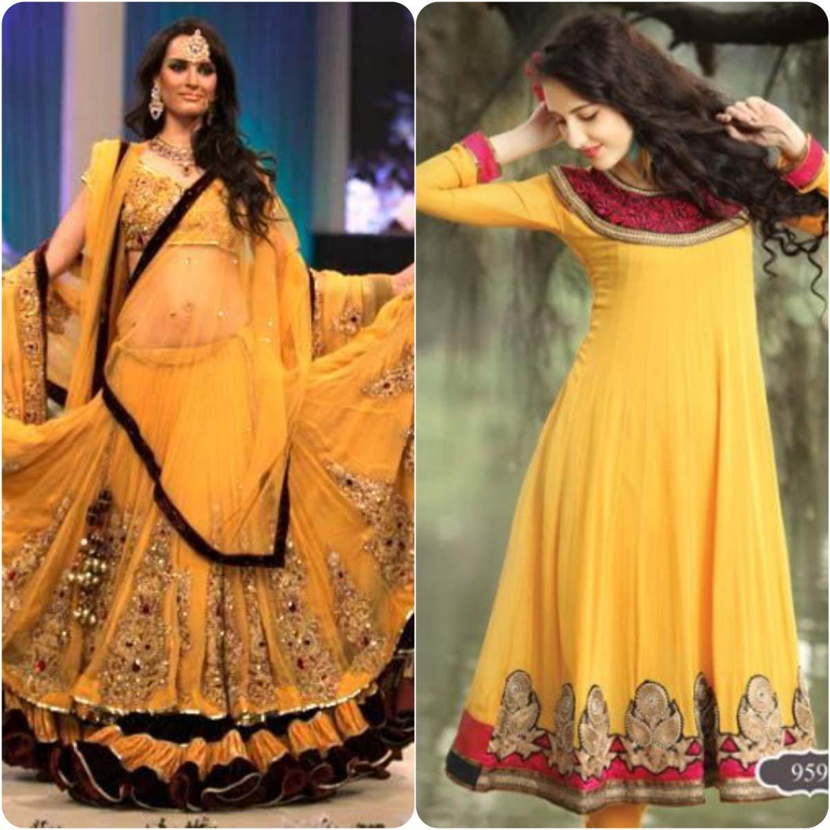 Beautiful Yellow Mehndi Dresses for Wedding Brides 2016-2017 (3)