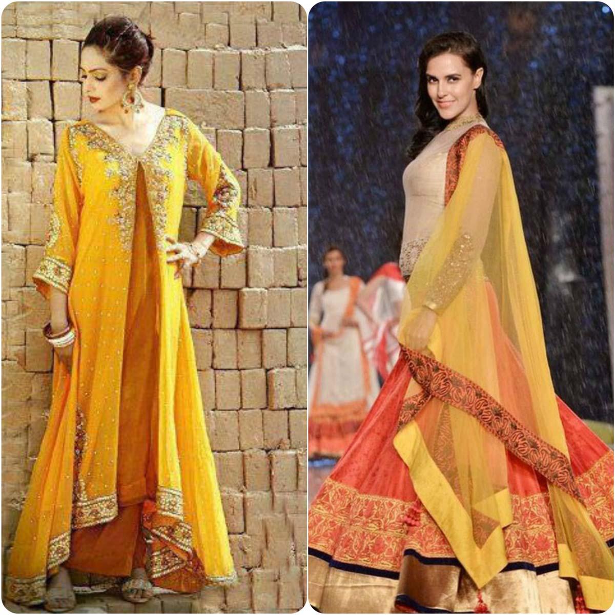 Beautiful Yellow Mehndi Dresses for Wedding Brides 2016-2017 (4)