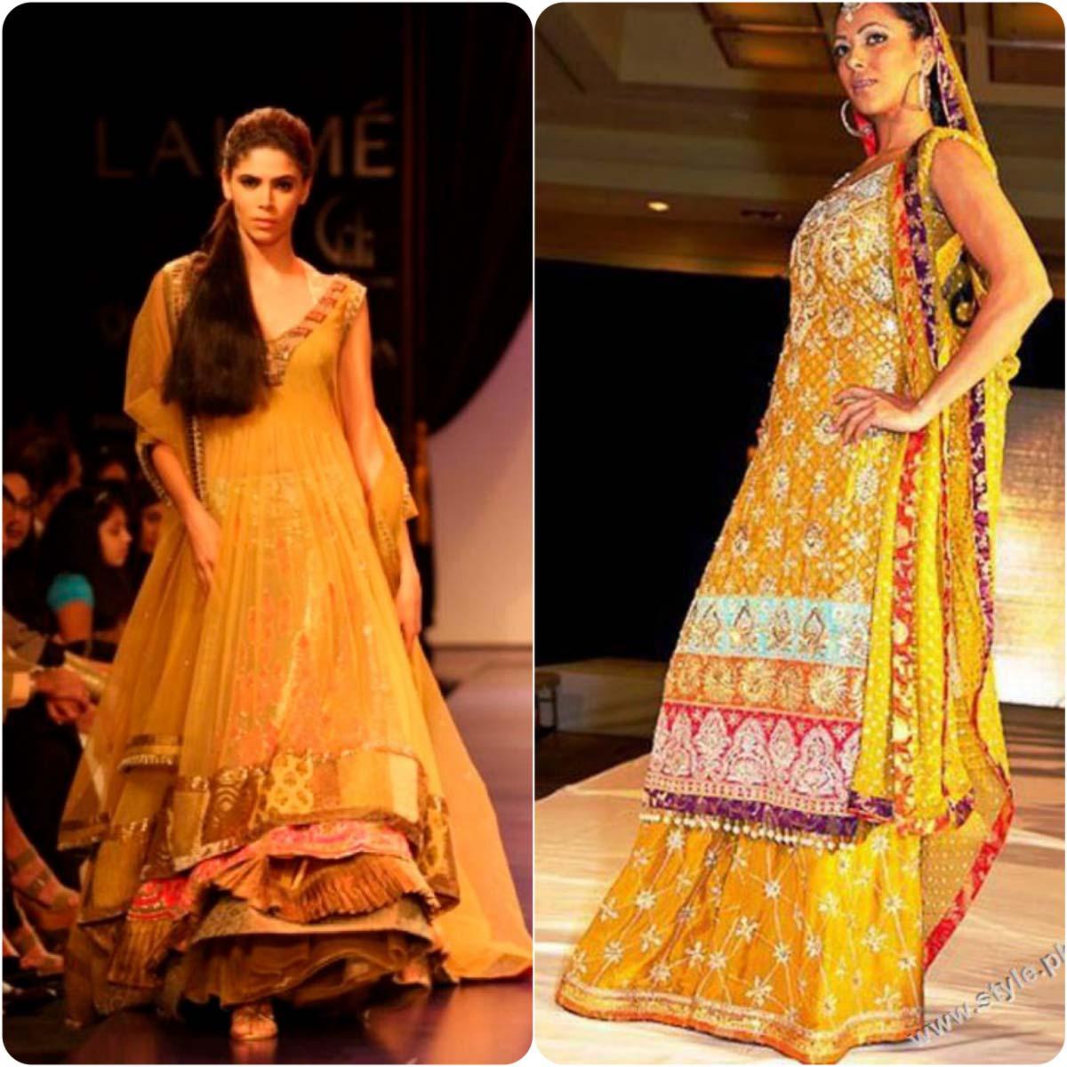 Beautiful Yellow Mehndi Dresses for Wedding Brides 2016-2017 (6)