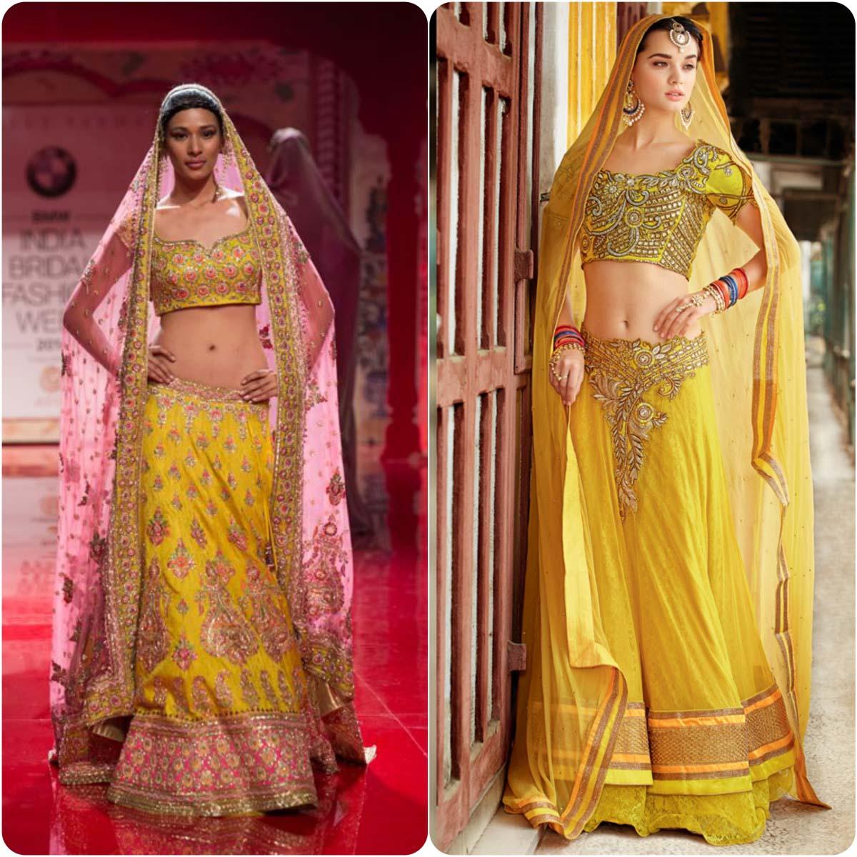 Beautiful Yellow Mehndi Dresses for Wedding Brides 2016-2017 (7)