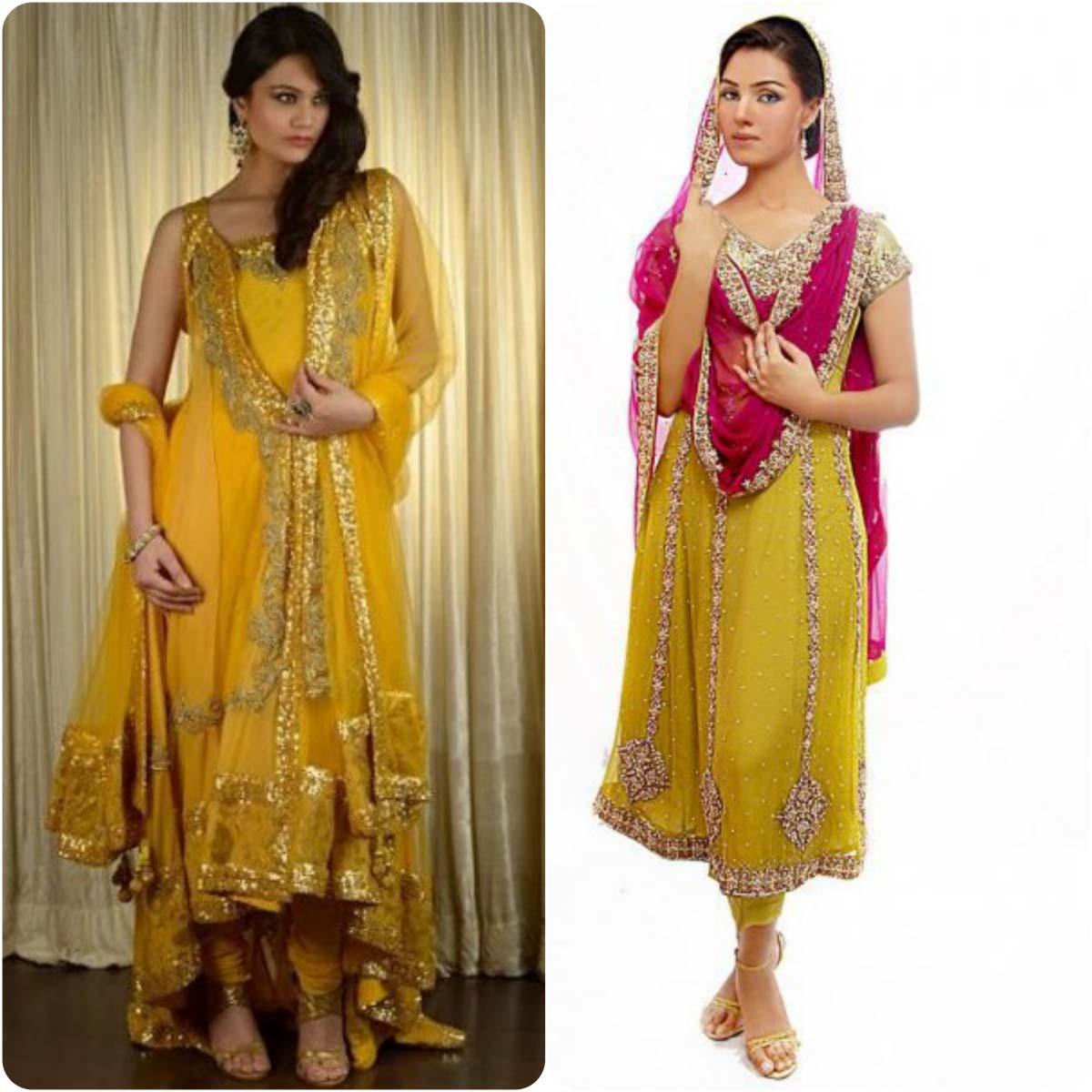 Beautiful Yellow Mehndi Dresses for Wedding Brides 2016-2017 (9)