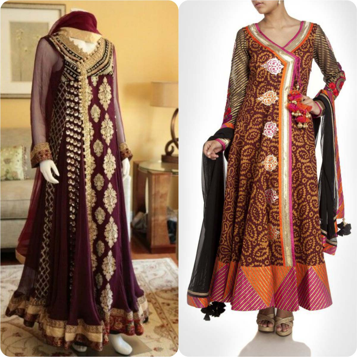 Angrakha Style Frocks and Shirts Design Collection for Women 2016-2017