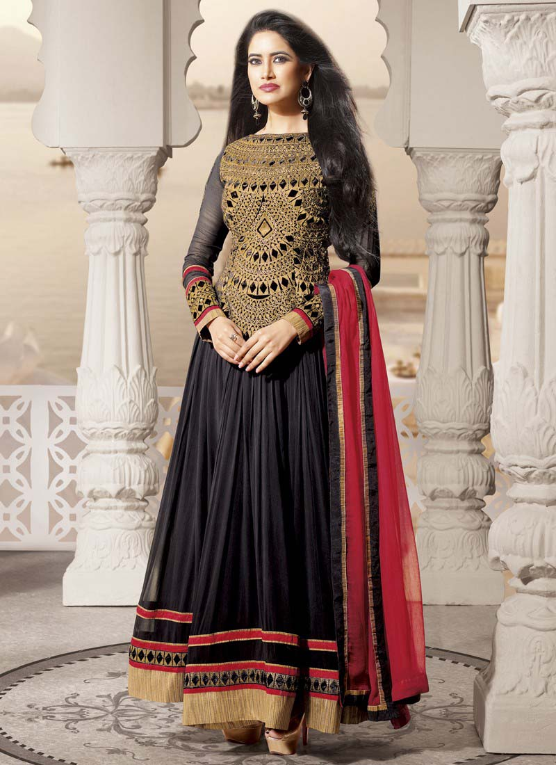 Floor-Length-Anarkali-Suits-Designs-In-Black-And-Red-2015