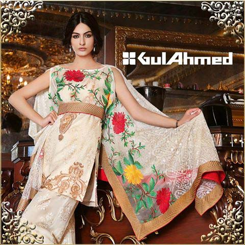 Gul Ahmed Festive Eid Dresses Embroidered, Silk, Lawn and Chiffon Collection 2016