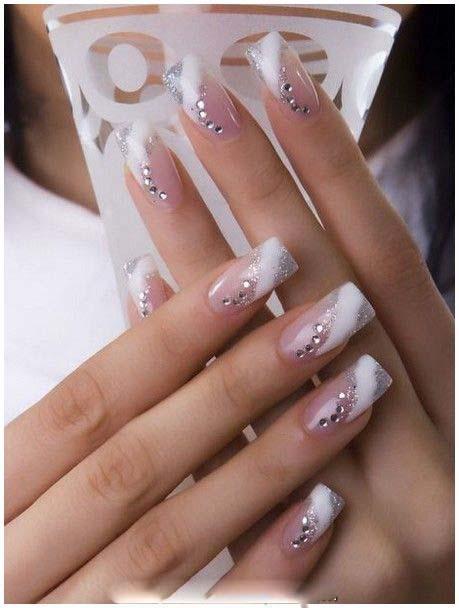 Bridal pastel Color Nail Paint Designs