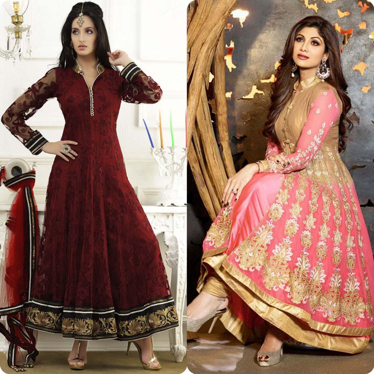 Indian Stylish Umbrella Frock and Churidar Dresses for Girls 2016-2017 (5)