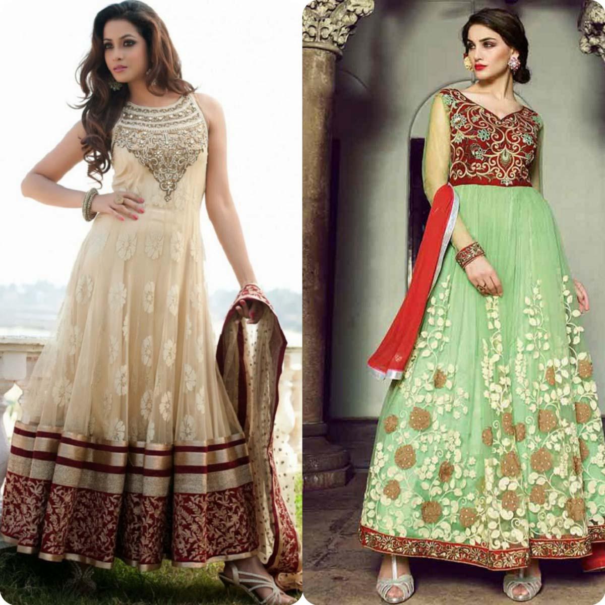 Indian Stylish Umbrella Frock and Churidar Dresses for Girls 2016-2017 (9)