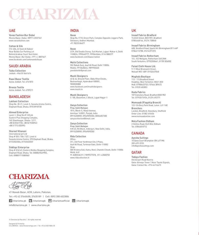 Charizma Swiss Range Eid Collection Vol-4 for Women 2016-2017