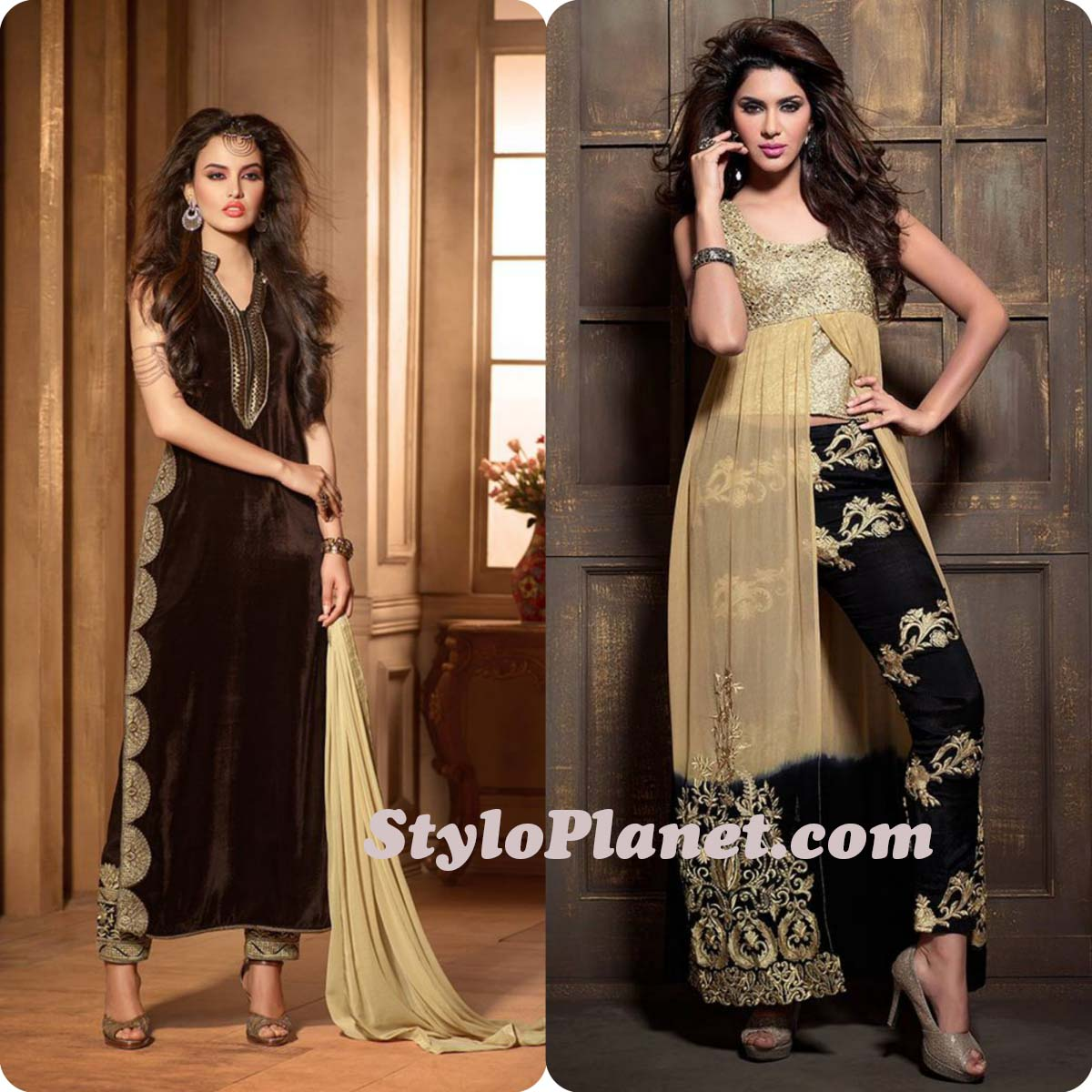 Latest Straight Pant Suits Dresses Design Collection for Women 2016-2017 (19)