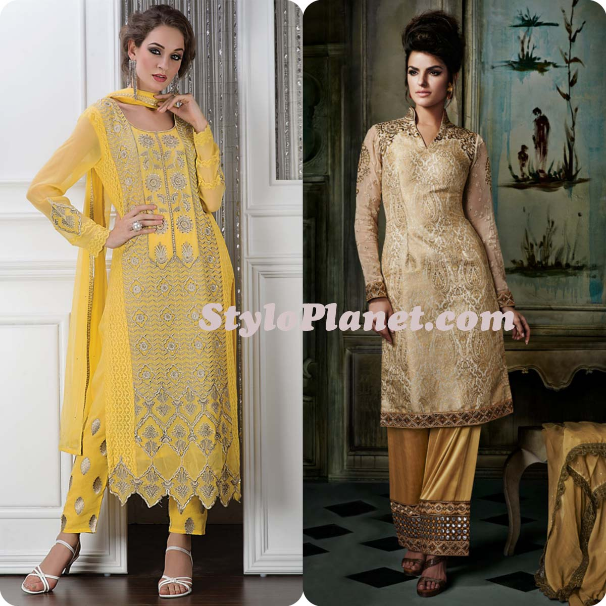 Latest Straight Pant Suits Dresses Design Collection for Women 2016-2017 (6)