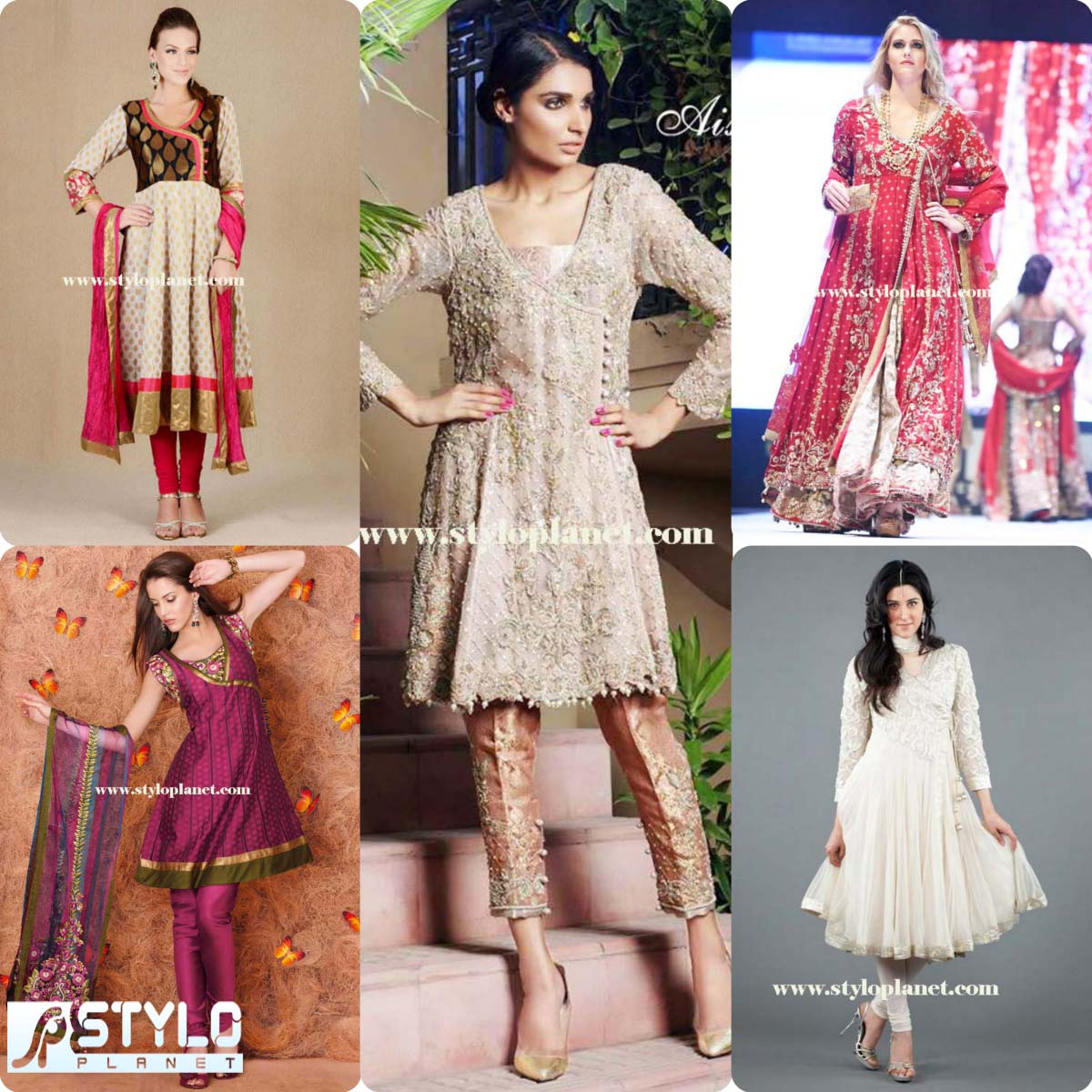 Angrakha Style Formal Wear Frocks Collection Stylo Planet