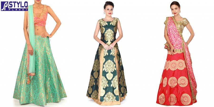 Indian Bridal Mehndi and Sangeet Lehenga Designs 2017-2018 by kalki Fashion
