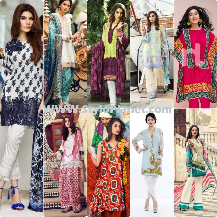 Top 10 Pakistani Designers Best Summer lawn Dresses Collection 2017-18