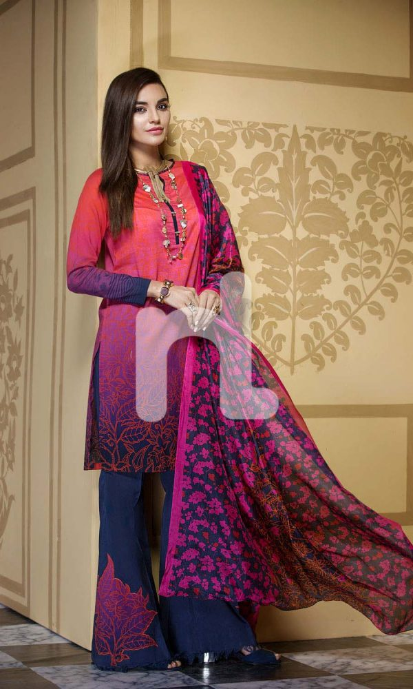 Nishat Linen Printed and Embroidered Eid Dresses Collection 2017-18 (8)