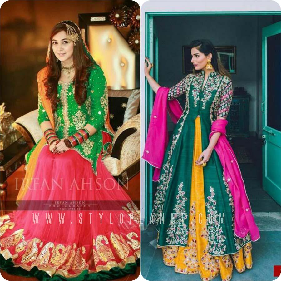 Green Color Mehndi Dresses
