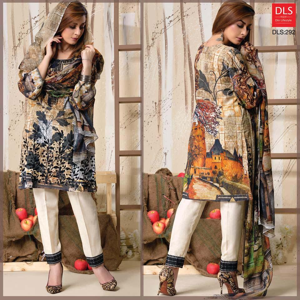 DLS Din LifeStyle Premium Winter Cambric Dresses Collection 2017-2018