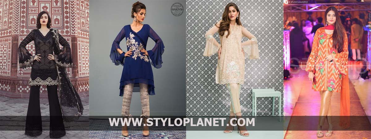 Latest Pakistani Designers Dresses With Beautiful Bell Sleeves Designs 2018-2019