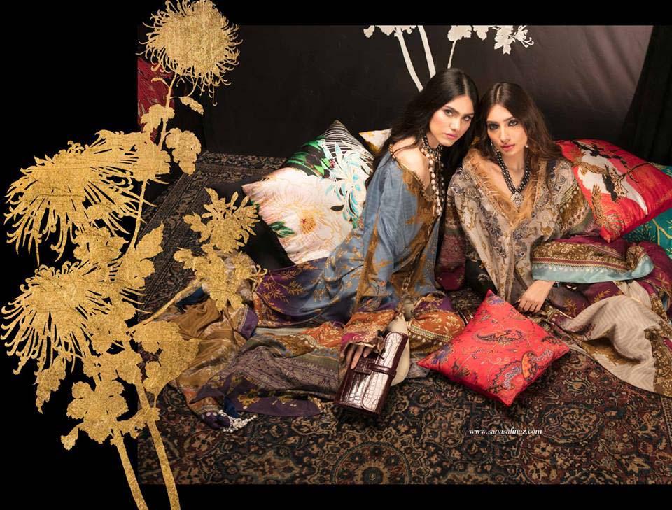 SANA SAFINAZ SILK CHIFFON DRESSES DESIGNS 2018-2019 COLLECTION